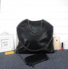 Stella McCartney Falabella Shaggy 37cm Shoulder Bag Black Gunmetal