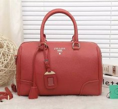 Prada Leather Handbag 2214 Red